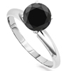 1 Carat Black Diamond Solitaire Ring in Sterling Silver