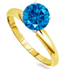 0.50 Carat SI2 Blue Diamond Ring in 14k Gold