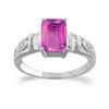1.16 Carats Pink Sapphire VS Diamond Ring in 18k White Gold