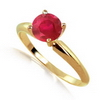 2 Carats Ruby Solitaire Ring in 14k White or Yellow Gold