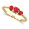 Three Stone Ring- 1 Carat Ruby Ring in 14K Gold