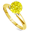 0.75 Carats Yellow Diamond Ring in 14k Dualtone Gold