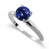 1 Carat Tanzanite Solitaire Ring in 14k White or Yellow Gold