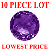 4 mm Round Checker Board Cut Amethyst 10 piece Lot