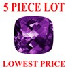 7 mm Antique Cushion Checker Board Cut Amethyst 5 piece Lot