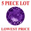 7 mm Round Checker Board Cut Amethyst 5 piece Lot