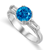 1.38 Ct Twt Blue VS Diamond Ring in 18k Gold