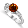 1.38 Ct Twt Red Cognac VS Diamond Ring in 18k Gold