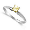 0.35 Carat Princess Cut Yellow Diamond Ring in 14k Gold