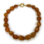 Orange Yellow Carnelian Beaded Sterling Silver 16 Inch Necklace
