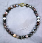 Rainbow Agate Beaded Sterling Silver 16 Inch Necklace