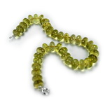Green Gold Quartz Beaded Sterling Silver 16 Inch Necklace