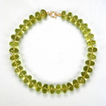 Green Gold Quartz Beaded Sterling Silver 18 Inch Necklace