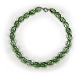 Green Amethyst Prasiolite Beaded Sterling Silver 16 Inch Necklac