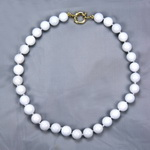 White Agate Beaded Sterling Silver 18 Inch Necklace