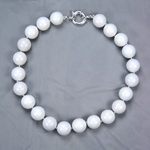 White Agate Beaded Sterling Silver 16 Inch Necklace
