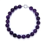 African Amethyst Beaded Sterling Silver 16 Inch Necklace