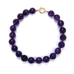 African Amethyst Beaded Sterling Silver 18 Inch Necklace