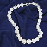Cracked Crystal Nugget Beaded Sterling Silver 16 Inch Necklace