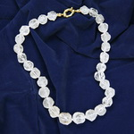 Cracked Crystal Nugget Beaded Sterling Silver 18 Inch Necklace
