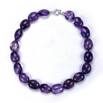 Amethyst Beaded Sterling Silver 16 Inch Necklace