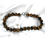 Tiger Eye Beaded Sterling Silver 16 Inch Necklace