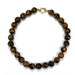 Tiger Eye Beaded Sterling Silver 18 Inch Necklace
