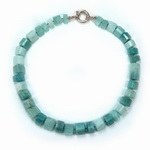 Aquamarine Beaded Sterling Silver 16 Inch Necklace