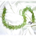 Neon Green Chalcedony Beaded Sterling Silver 16 Inch Necklace