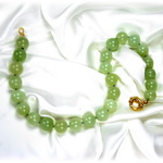 Neon Green Chalcedony Beaded Sterling Silver 18 Inch Necklace