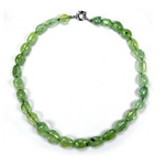 Neon Green Prehnite Beaded Sterling Silver 16 Inch Necklace