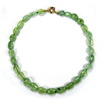 Neon Green Prehnite Beaded Sterling Silver 18 Inch Necklace