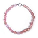 Rose Quartz Beaded Sterling Silver 16 Inch Necklace