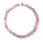 Rose Quartz Beaded Sterling Silver 18 Inch Necklace