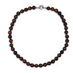 Red Tiger Eye Beaded Sterling Silver 16 Inch Necklace