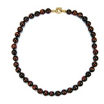 Red Tiger Eye Beaded Sterling Silver 18 Inch Necklace