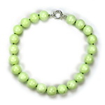 Neon Green Agate Beaded Sterling Silver 16 Inch Necklace