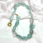 Aquamarine Beaded Sterling Silver 18 Inch Necklace