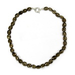 Smoky Quartz Beaded Sterling Silver 16 Inch Necklace