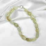 Cats Eye Moonstone Beaded Sterling Silver 16 Inch Necklace
