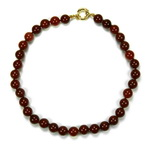 Red Carnelian Beaded Sterling Silver 18 Inch Necklace