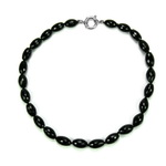 Black Onyx Beaded Sterling Silver 16 Inch Necklace