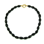Black Onyx Beaded Sterling Silver 18 Inch Necklace