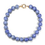 Blue lace Agate Beaded Sterling Silver 18 Inch Necklace