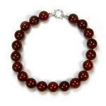Red Carnelian Beaded Sterling Silver 16 Inch Necklace