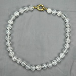 Cracked Diamond Quartz Beaded Sterling Silver 18 Inch Necklace
