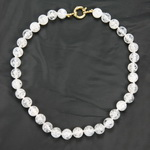 Cracked Diamond Quartz Beaded Sterling Silver 16 Inch Necklace