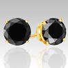 0.50 Cts Black Diamond Stud Earrings in 14k White or Yellow Gold