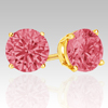 1 Ct Twt Pink Diamond Earrings in 14k white or Yellow Gold