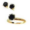 1.0 ct. twt Black Diamond ring and Stud Earrings in 14K Gold